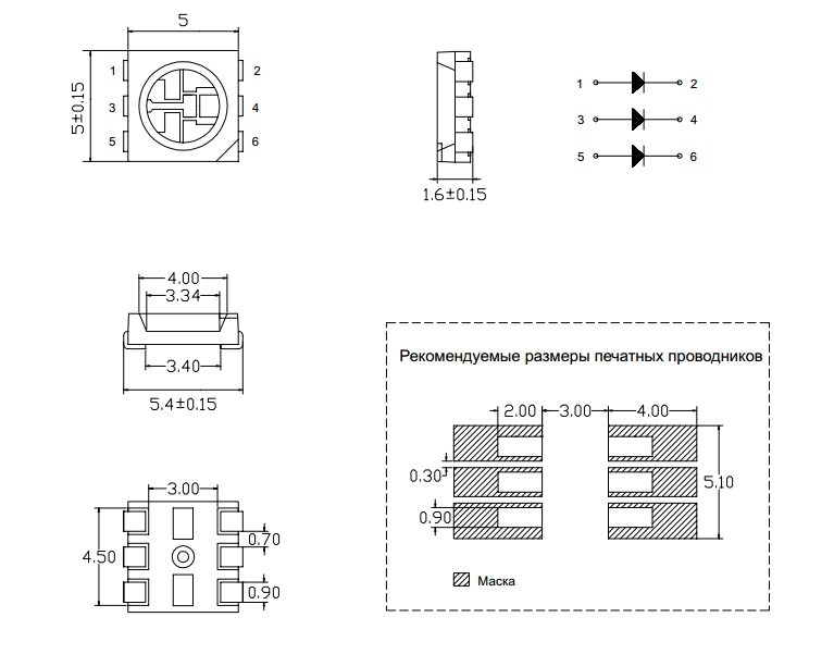 Размер светодиодов SMD 5050