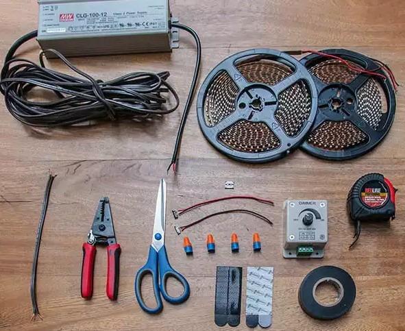 установка led strip - используемые инструменты