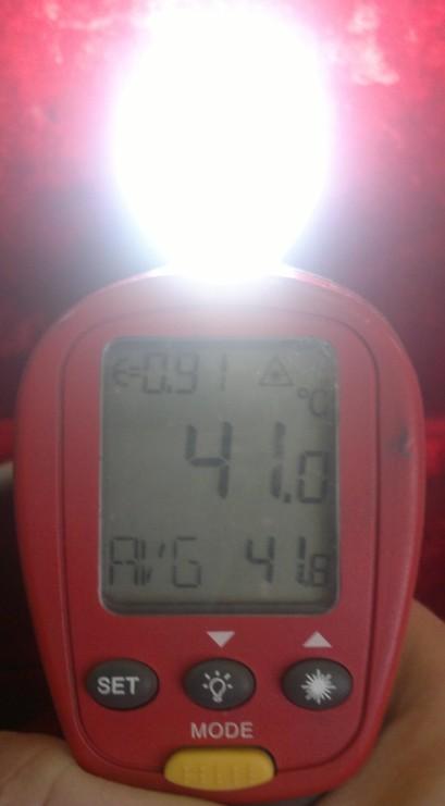 Температура корпуса после часа работы лампы Wolta