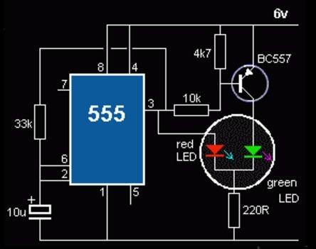 IC 555 управление LED