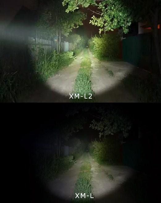 Как светят фонари XM-L и XM-L2