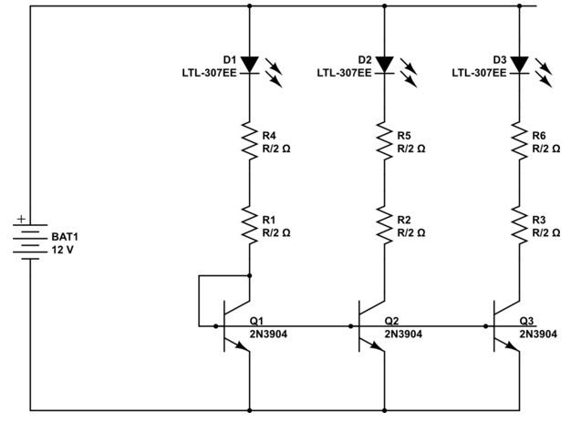 подключение светодиодов к 12 В при 2 резистора