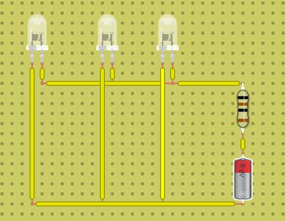 не правильное параллельное соединение светодиодов