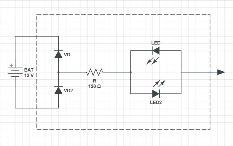 Схема контрольки на светодиодах на 12 В