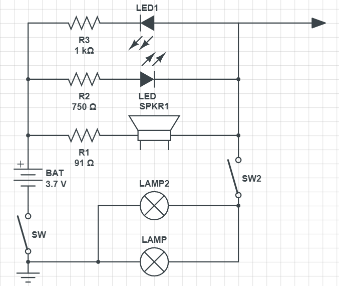 схема контрольки на светодиодах с батареей 3,7 В