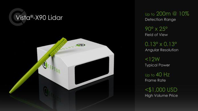 Cepton представляет новый автомобильный LiDAR Vista®-X90 по цене менее 1000 долларов
