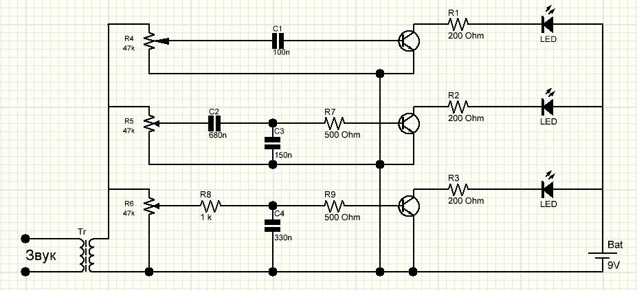 Простейшая трехканальная схема на светодиодах