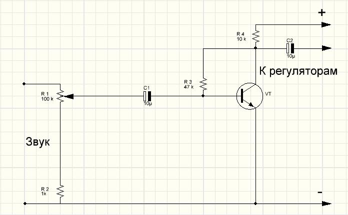 Схема цветомузыки на светодиодах без трансфолрматоров