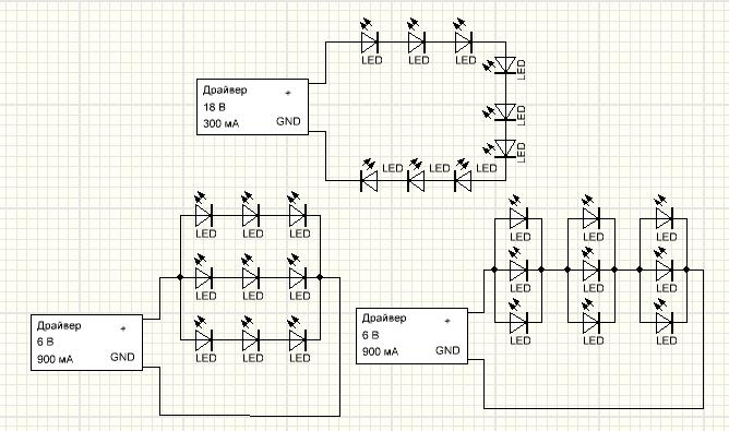 Подключение светодиодов к драйверу