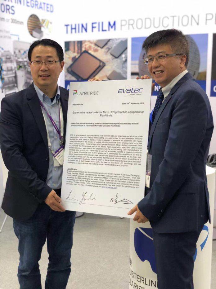 <pre>Evatec выигрывает повторный заказ на оборудование для производства светодиодов Micro на PlayNitride
